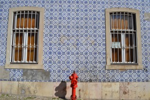 Tiled building with fire hydrant